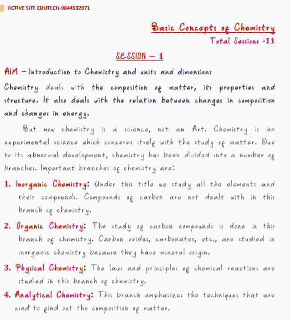 Basic concepts in chemistry Total Sessions 11 Notes
