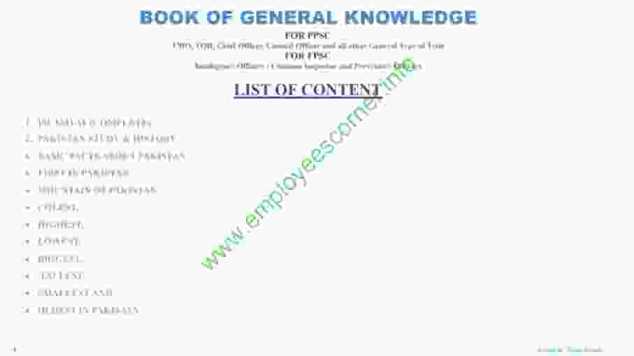 PPSC General Ability test Book Of General Knowledge PDF
